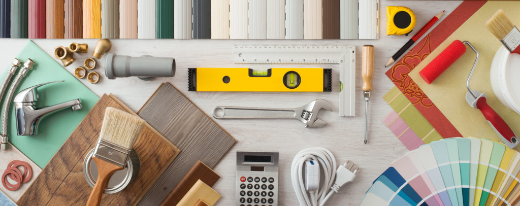 home renovation tools sprawled out on table