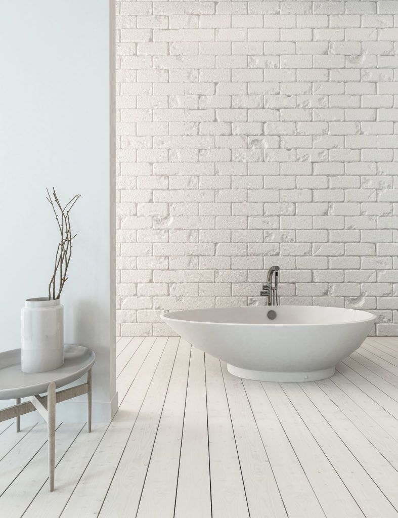 brickwork inside bathroom
