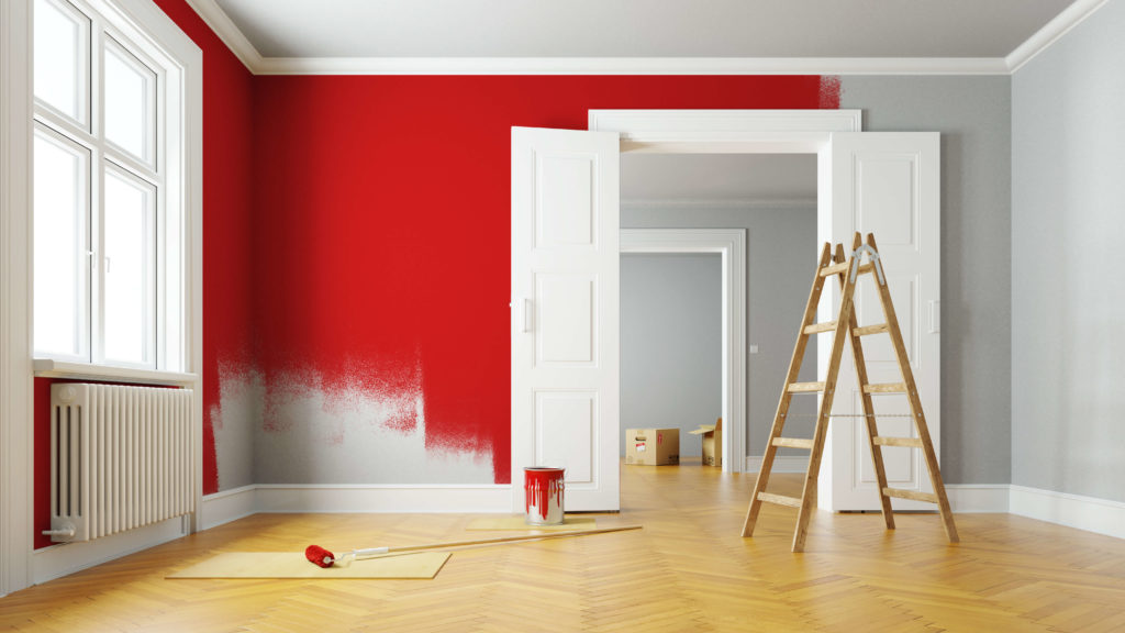simple home renovation in the form of a room being painted red