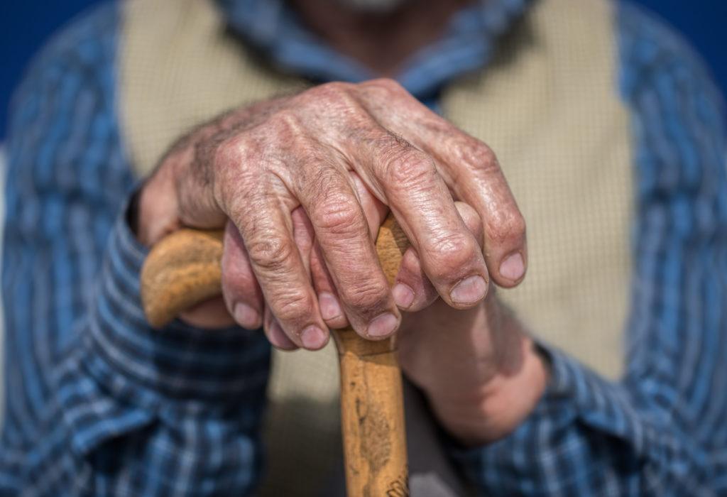 elderly man hands